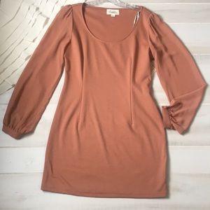 Forever 21 sheer sleeve tan dress
